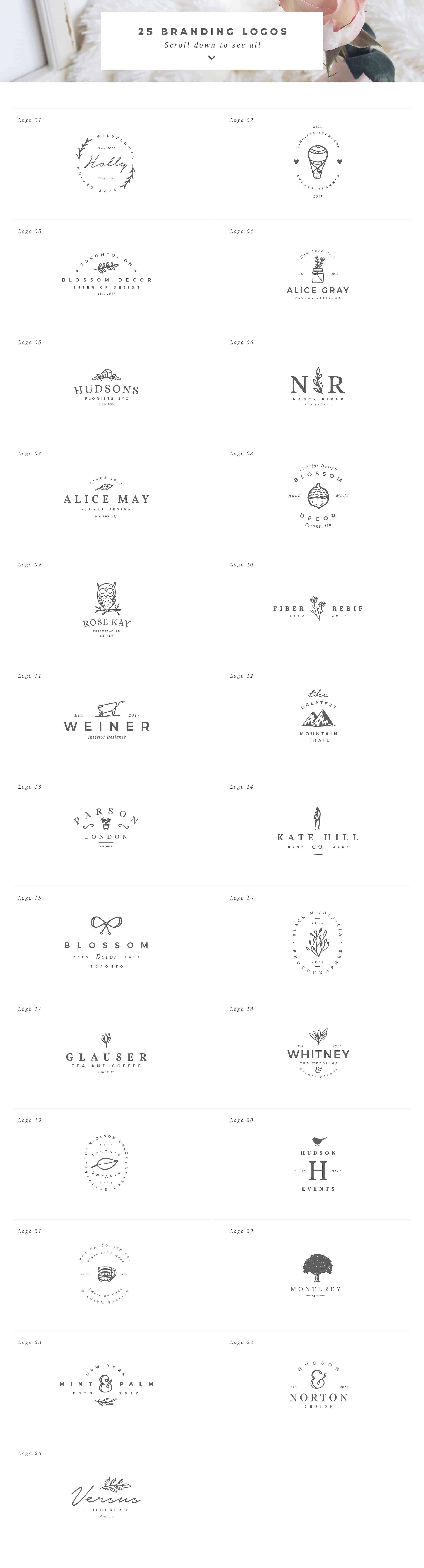 Delicate Feminine Logos Premade Ideas Inspiration