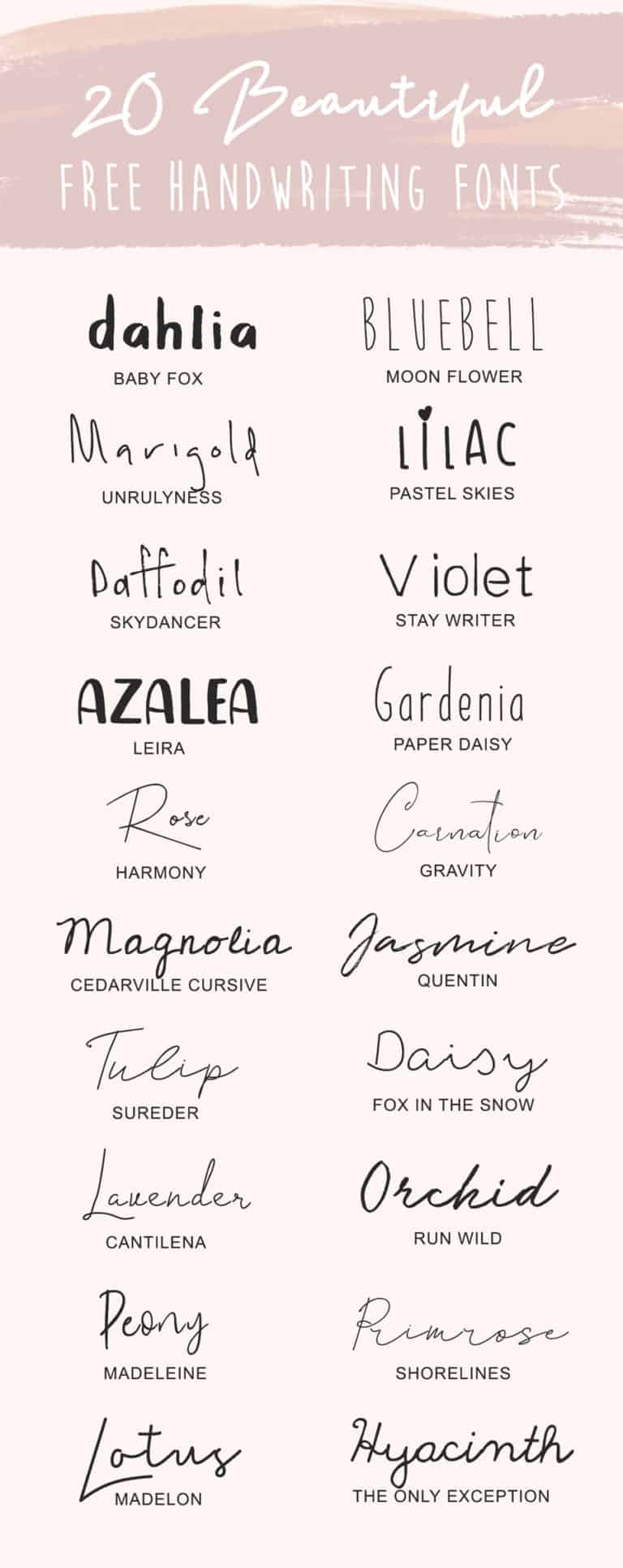 Favorite Free Handwriting Fonts
