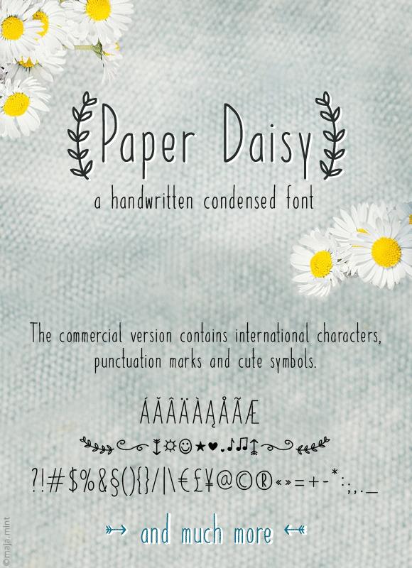 Free Handwritten Font Feminine - Paper Daisy