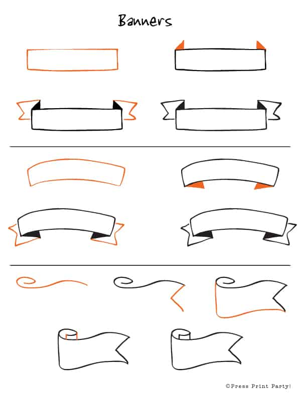 Things to Draw - Banners Step by Step