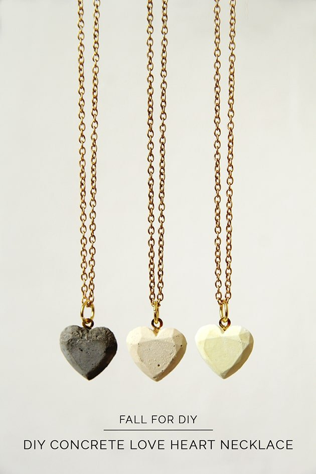 DIY Concrete Heart Necklace - Crafts to make and sell
