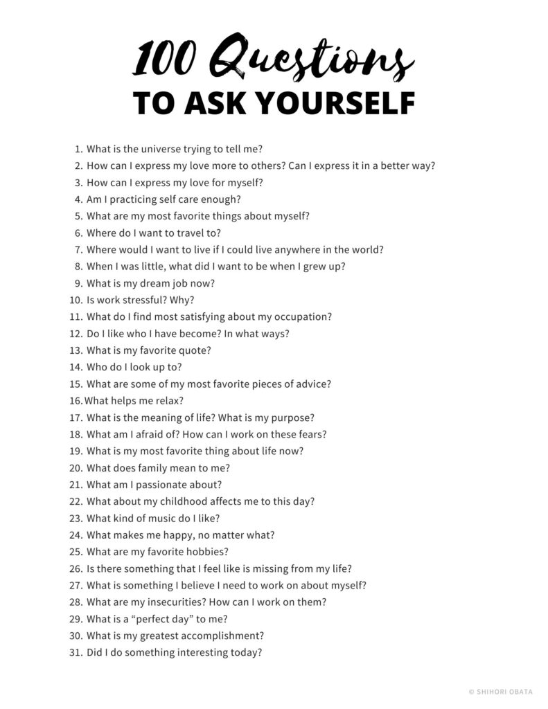 questions to ask yourself worksheet