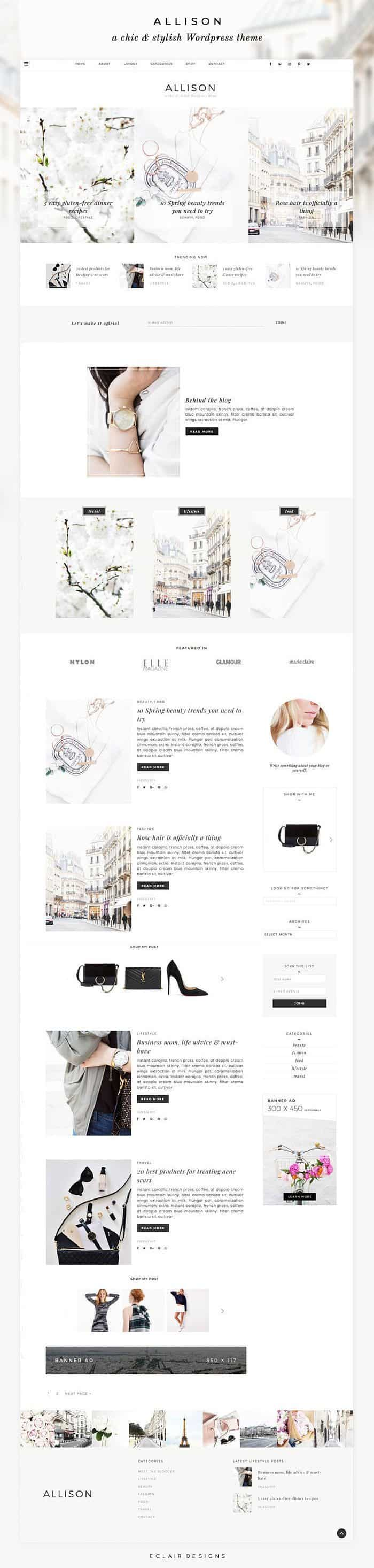 Feminine WordPress Theme - Allison