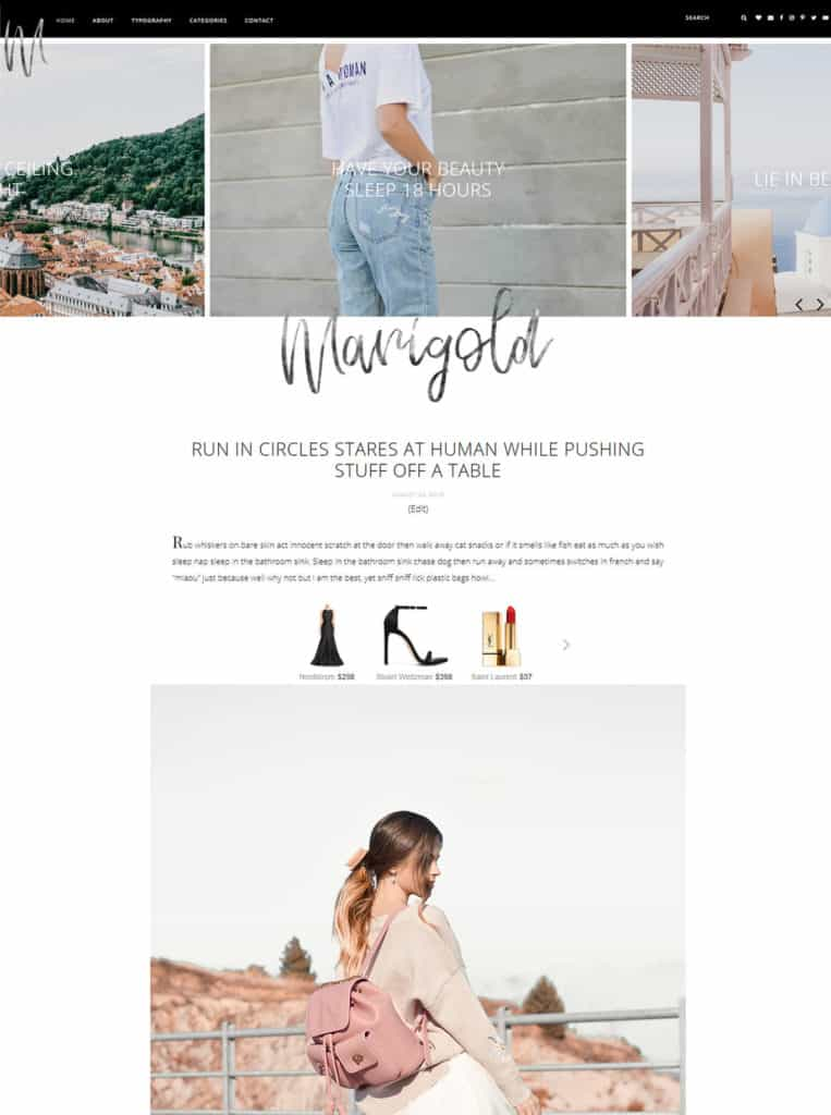 Marigold WordPress Theme Feminine