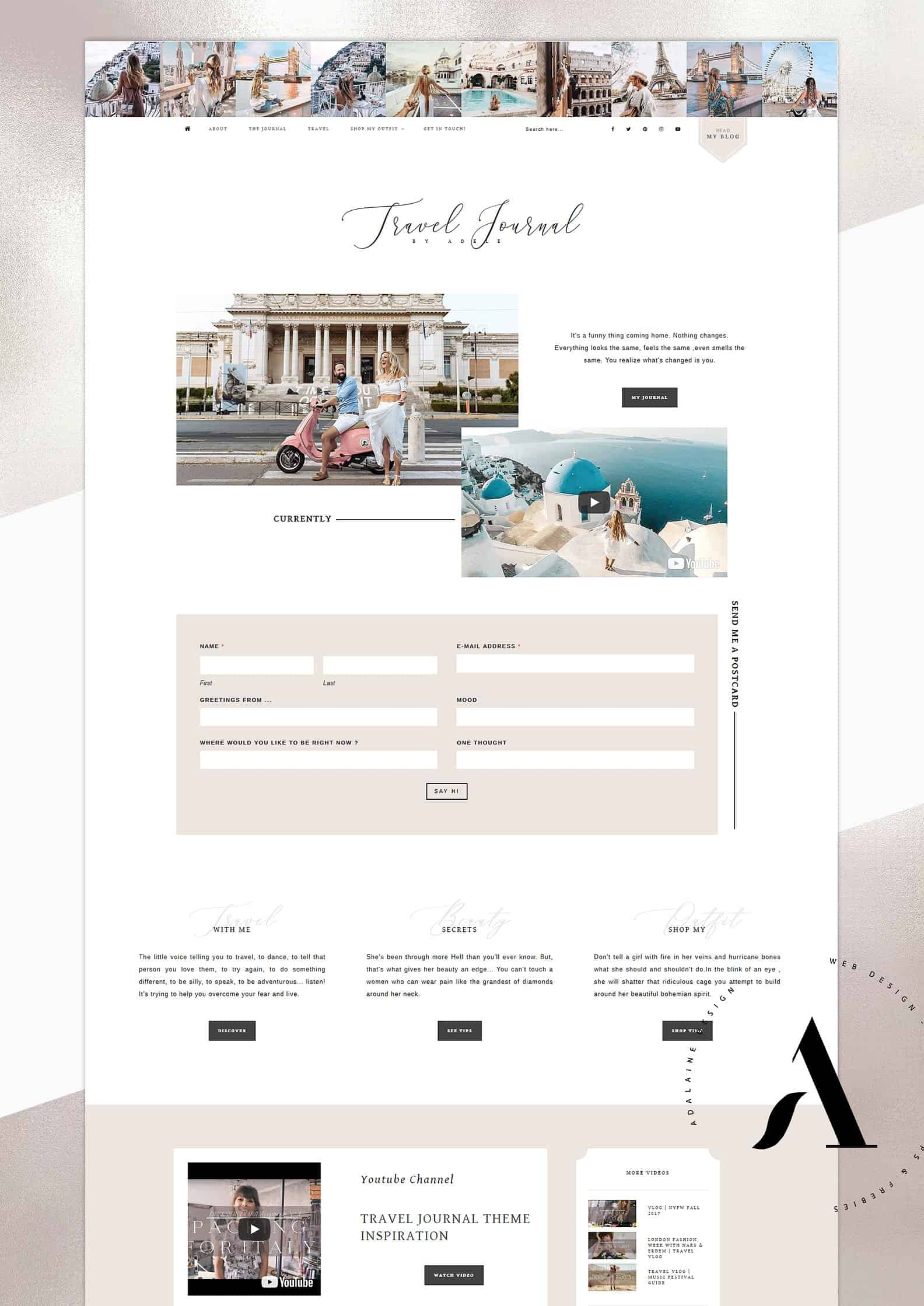 Travel Journal Feminine WordPress Theme
