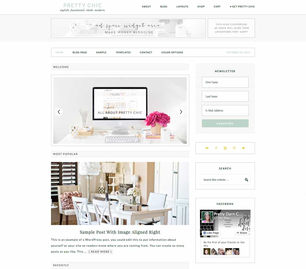 Feminine WordPress Theme Pretty chic Theme