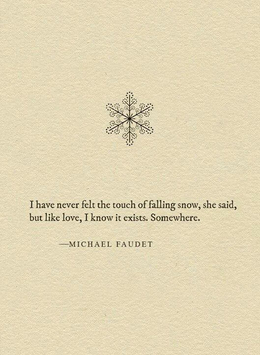 I have never felt the touch of falling snow