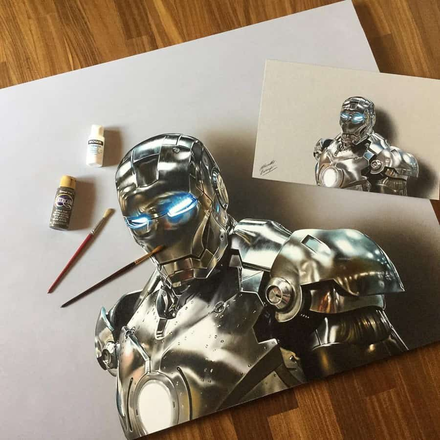 Iron man - 3d Amazing drawing by Marcello Barenghi