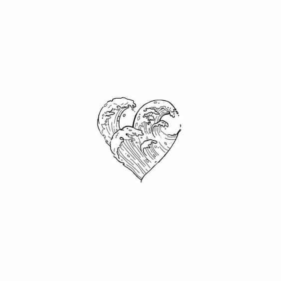 Bullet Journal Doodle - Wave Heart Drawing