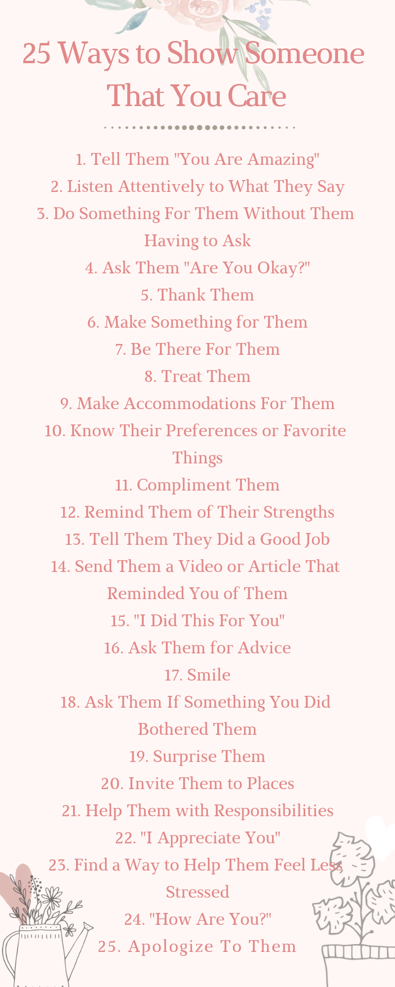 25 Ways to Show Someone That You Care List - Tips for Self Growth