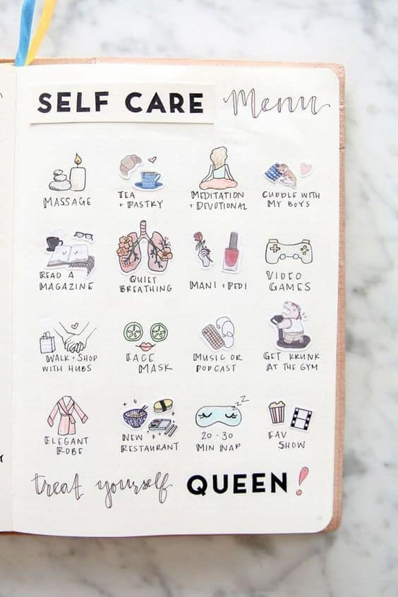 Self Care Bullet Journal Spread