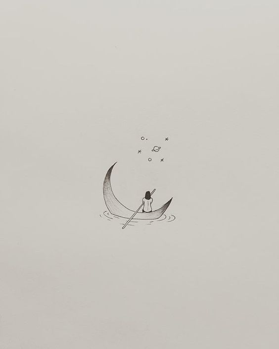 Moon Boat Bullet Journal Drawing