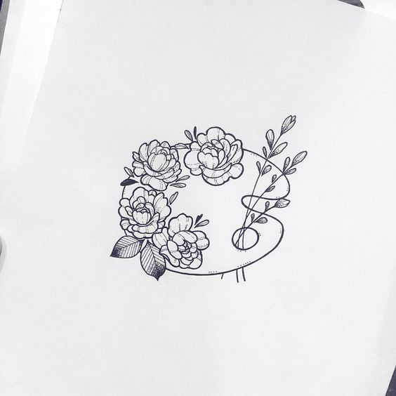 Flower Art Palette Doodle - Bullet Journal Drawing