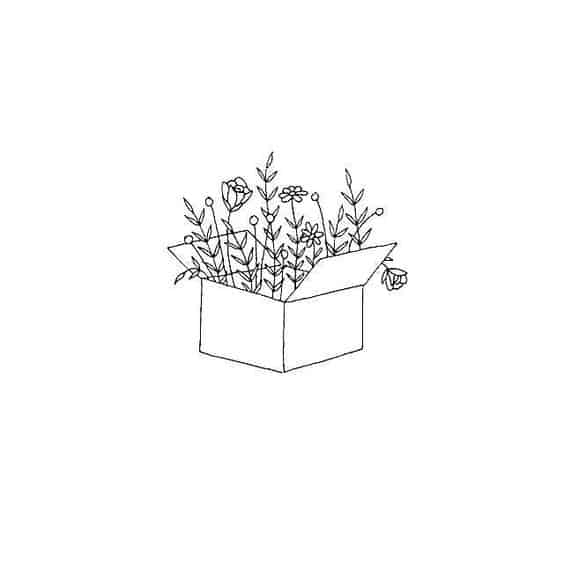 Box with Flowers Doodle - Easy Things to Draw