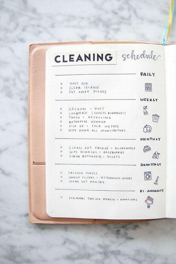 Cleaning Duties - Bullet Journal Ideas