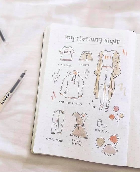 Bullet Journal Spread Inspiration - Clothing Style