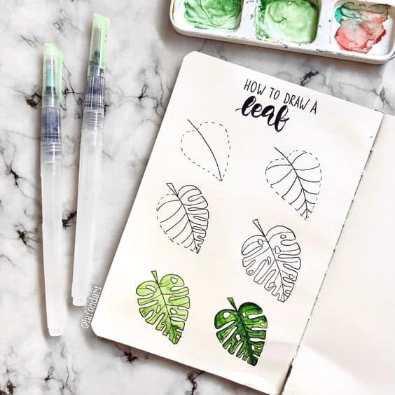 Things to Draw in Bullet Journal - Leaf Drawing