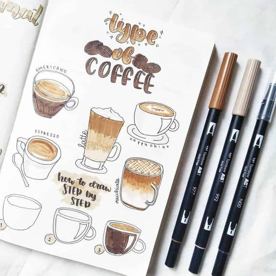 Bullet Journal Doodles - Coffee Drawing