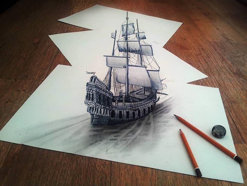 3D Ship Drawing #drawing #art