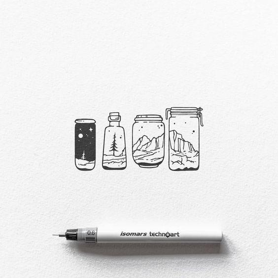 Landscapes in Jars Doodles