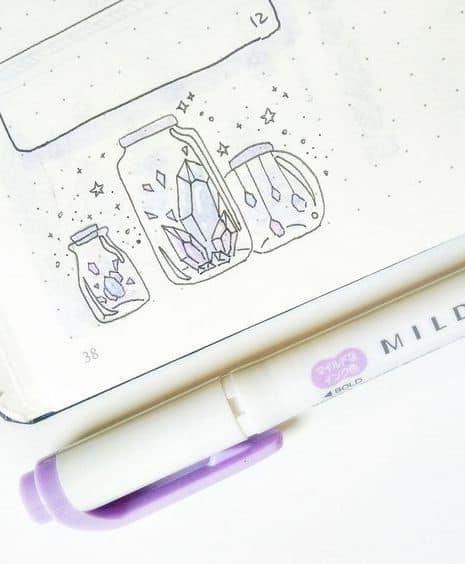 Crystals in Jars Doodle - Bullet Journal Drawing