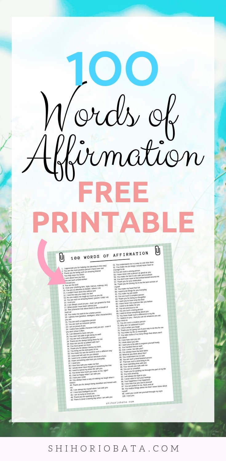100 Words of Affirmation Free Printable - Love Languages