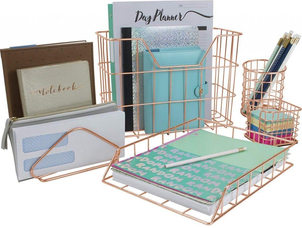 Copper Desk Organizer Set