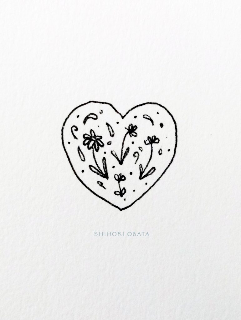 Heart with Flowers Drawing Idea
