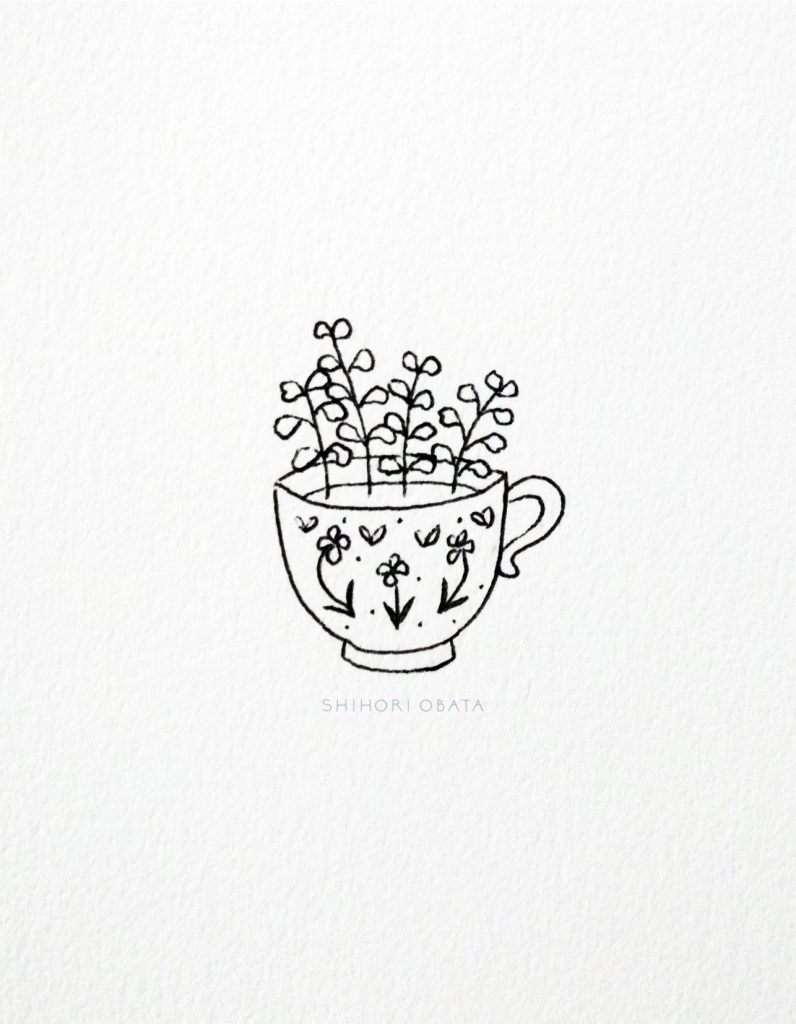 Teacup with Flowers Doodle