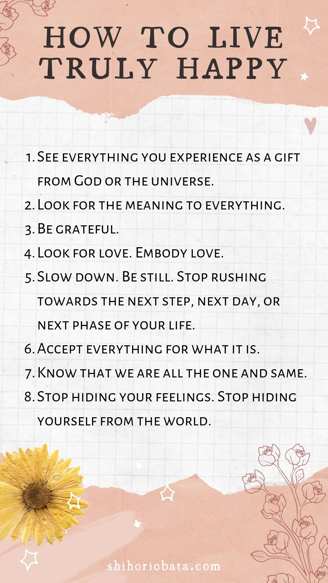How to Live Truly Happy List - #selfgrowth