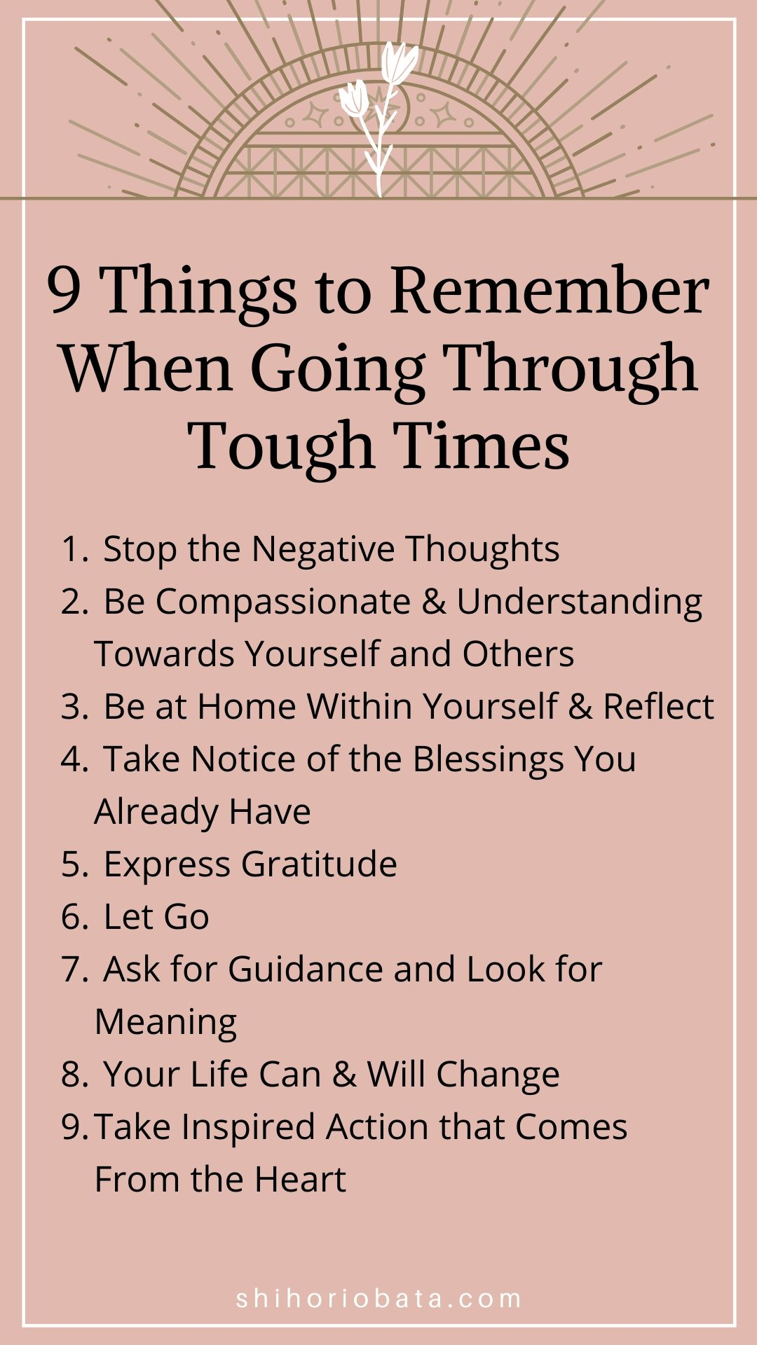 Things to Remember When Going through Tough Times List