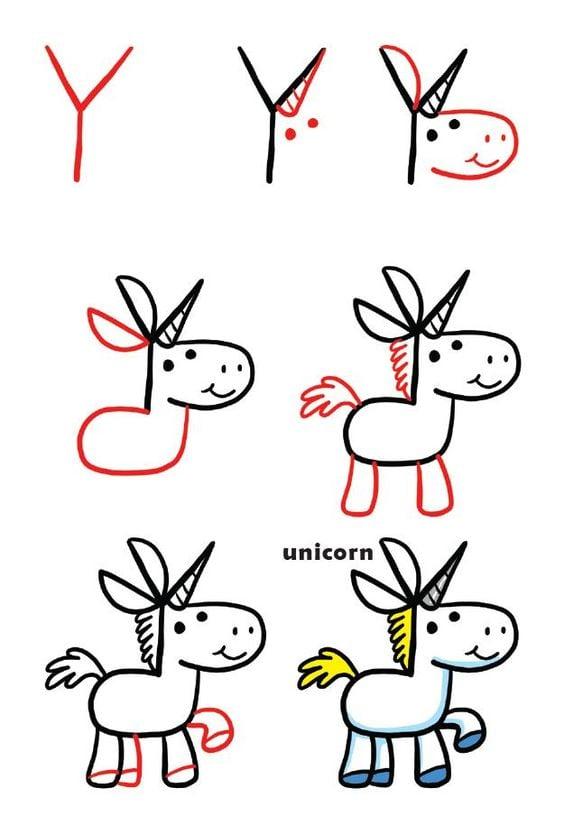 Easy Unicorn Drawing