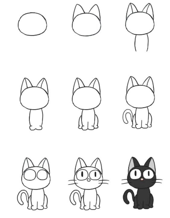Easy Cat Drawing idea Step by Step