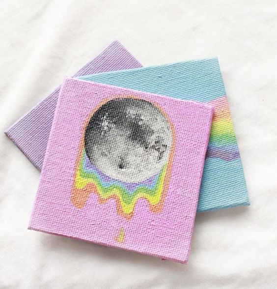 Easy DIY moon canvas painting idea