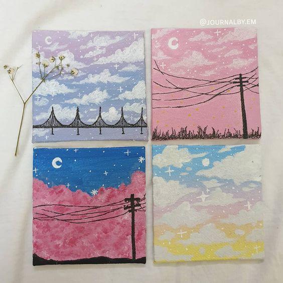 Easy DIY mini canvas painting ideas