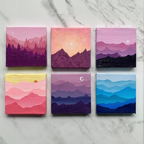 Easy DIY mini canvas painting art