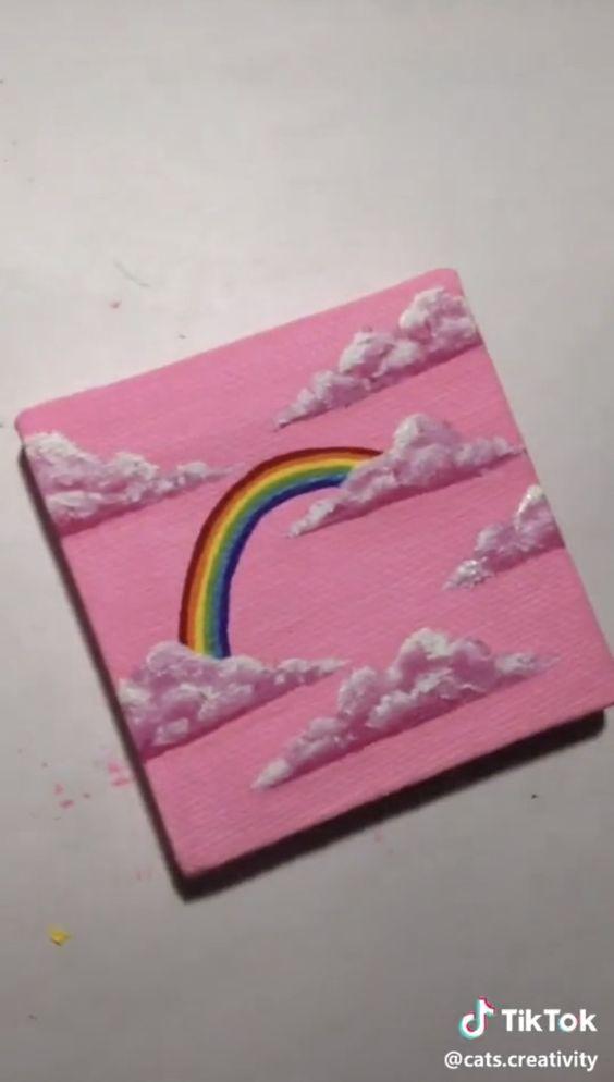 Easy rainbow canvas art