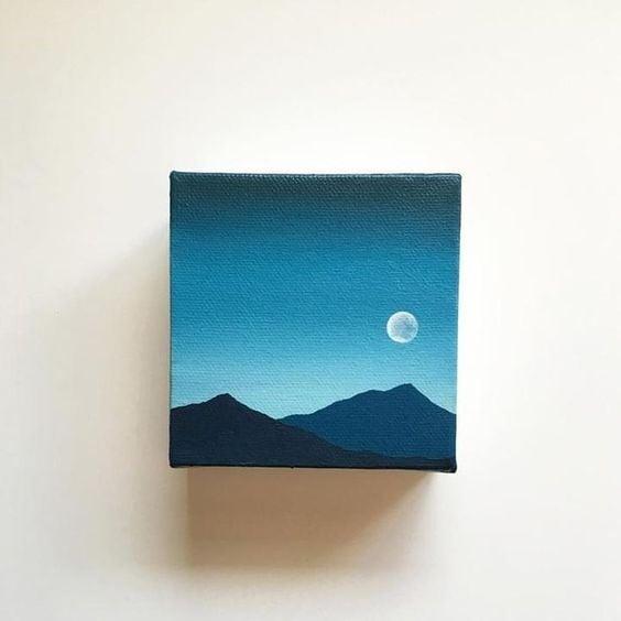 Easy DIY mini canvas painting idea