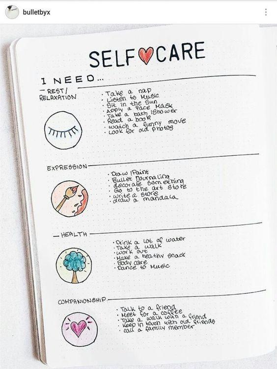 Easy Bullet Journal Self Care Ideas
