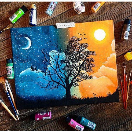 easy acrylic painting idea