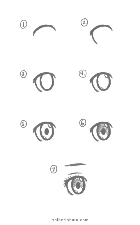 Female anime eye drawing