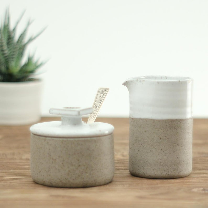 ceramic creamer and sugar bowl