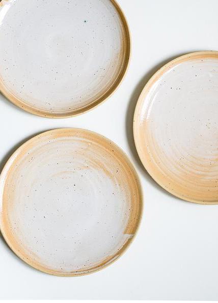 handmade beige and white plates