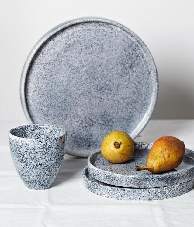 blue handmade ceramic plate