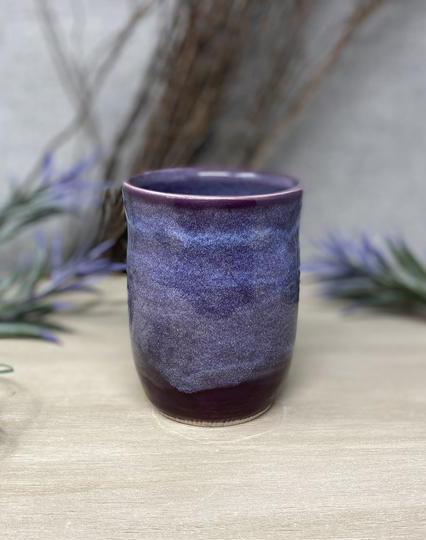 purple handmade ceramic cup