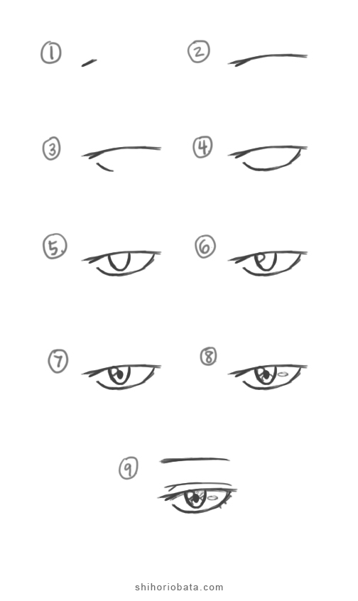 how to draw male anime eye