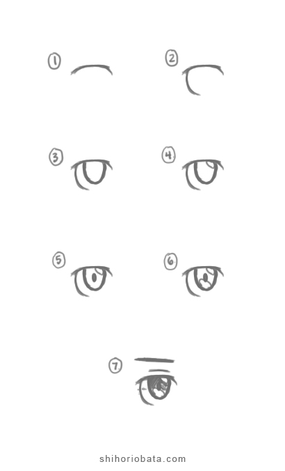 male anime eye drawing