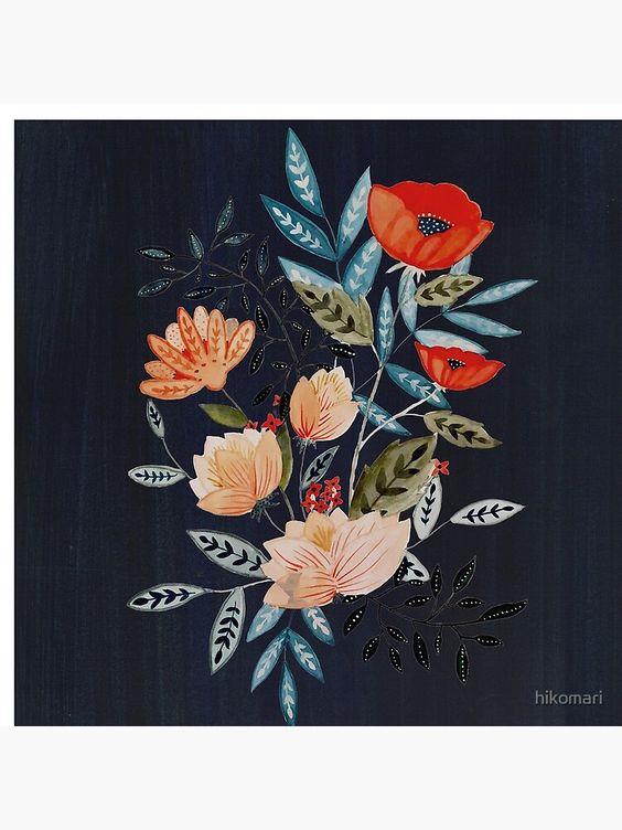 floral art print redbubble black