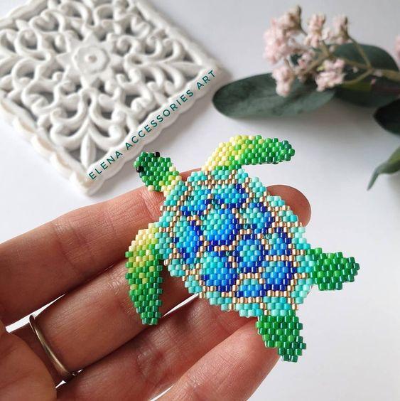 seed beading animals turtle