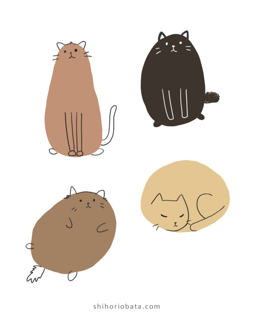 easy cat drawing idea